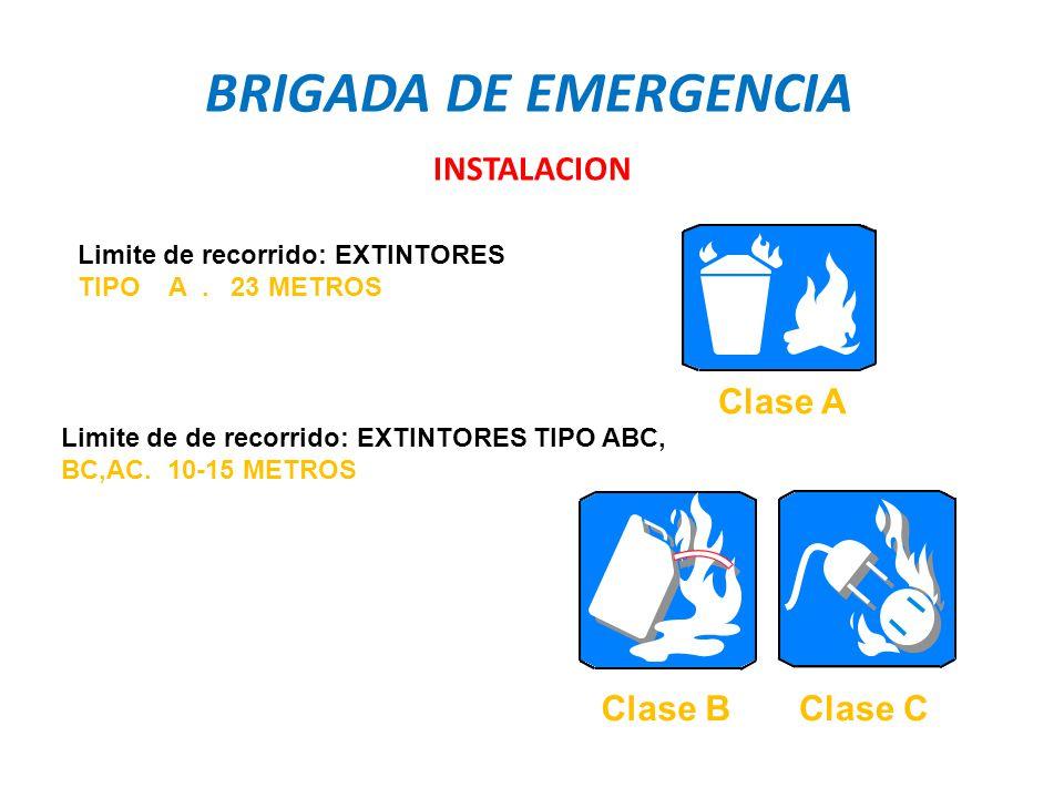 BRIGADA DE EMERGENCIA INSTALACION Clase A Clase B Clase C