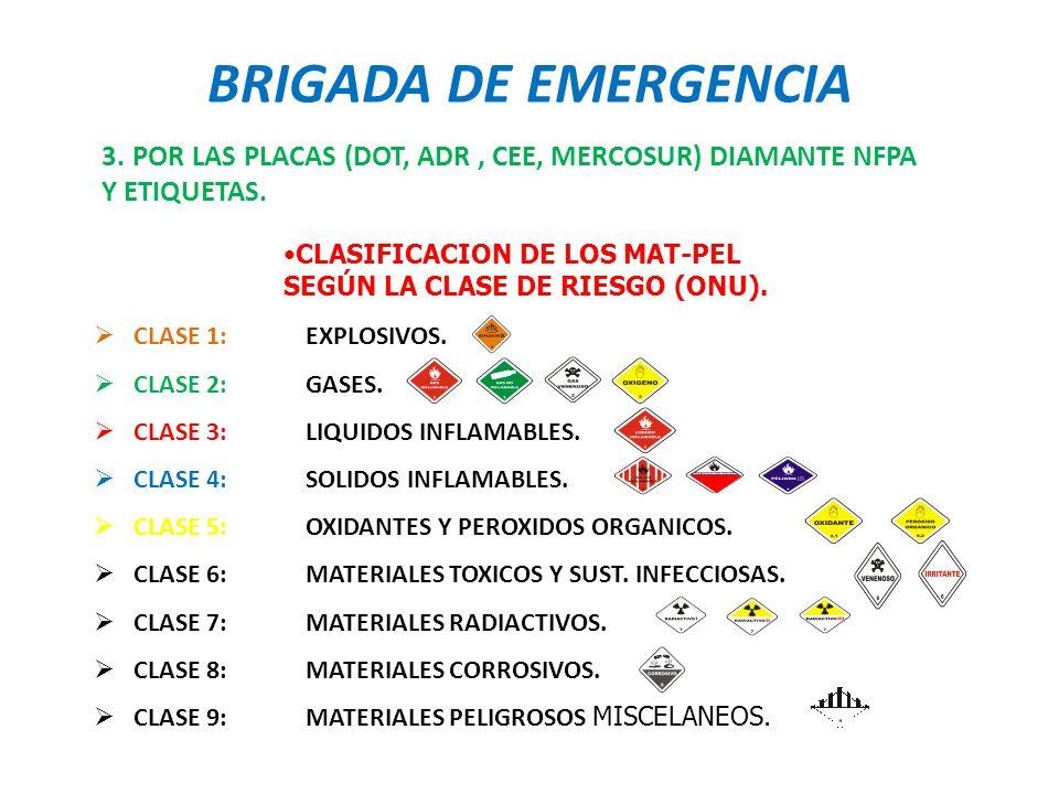 BRIGADA DE EMERGENCIA 3. POR LAS PLACAS (DOT, ADR , CEE, MERCOSUR) DIAMANTE NFPA Y ETIQUETAS.