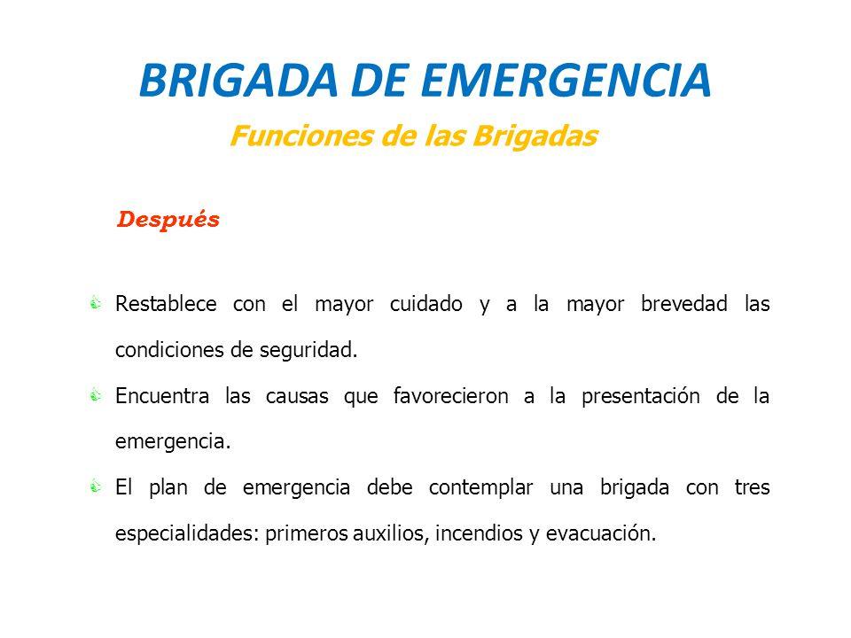 BRIGADA DE EMERGENCIA Funciones de las Brigadas Después