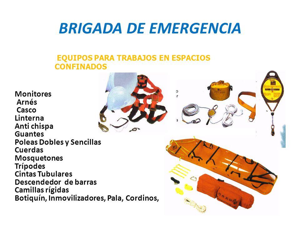 BRIGADA DE EMERGENCIA Monitores Arnés Casco Linterna Anti chispa