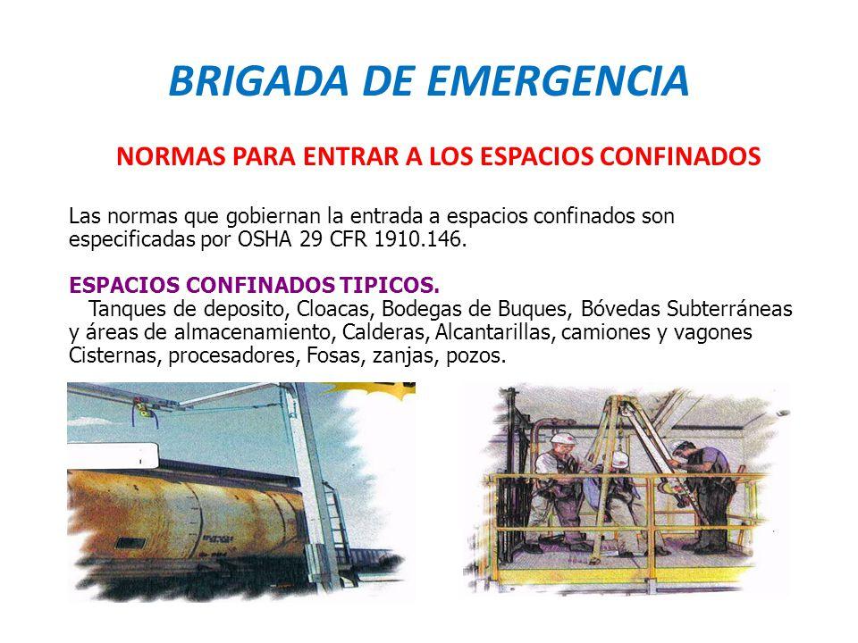 BRIGADA DE EMERGENCIA NORMAS PARA ENTRAR A LOS ESPACIOS CONFINADOS