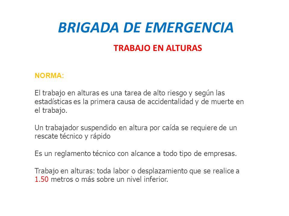BRIGADA DE EMERGENCIA TRABAJO EN ALTURAS NORMA: