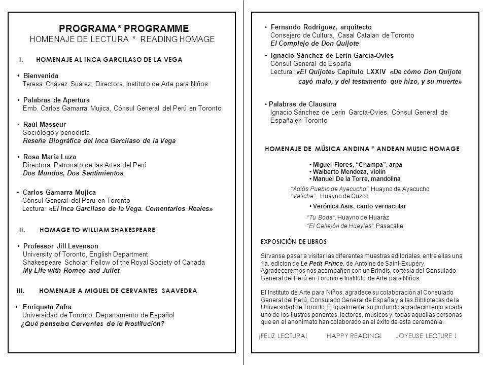 PROGRAMA * PROGRAMME HOMENAJE DE LECTURA * READING HOMAGE