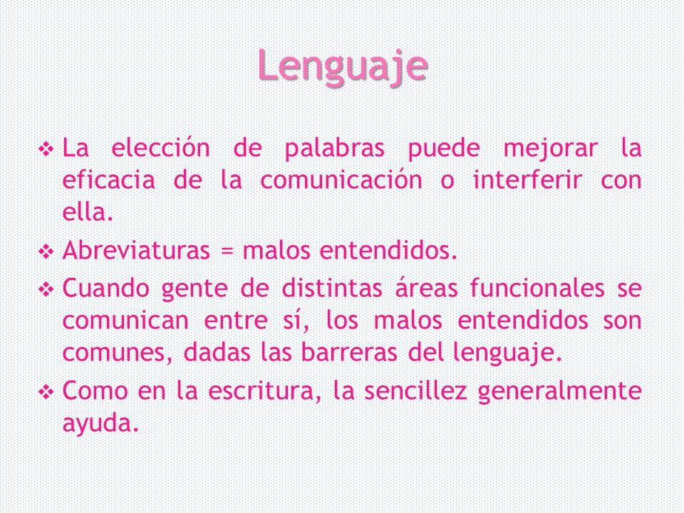 Lenguaje La elección de palabras puede mejorar la eficacia de la comunicación o interferir con ella.
