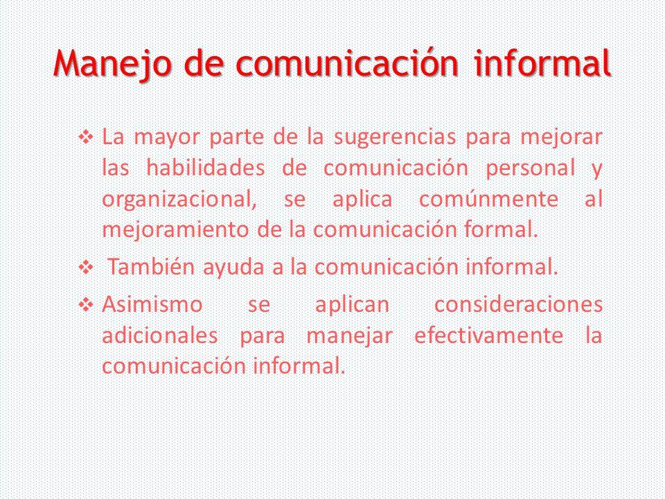 Manejo de comunicación informal
