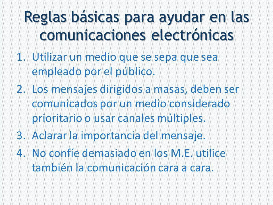 Reglas básicas para ayudar en las comunicaciones electrónicas