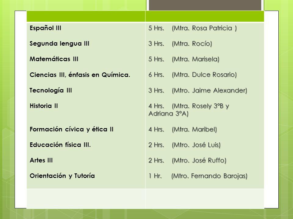 Español III Segunda lengua III. Matemáticas III. Ciencias III, énfasis en Química. Tecnología III.