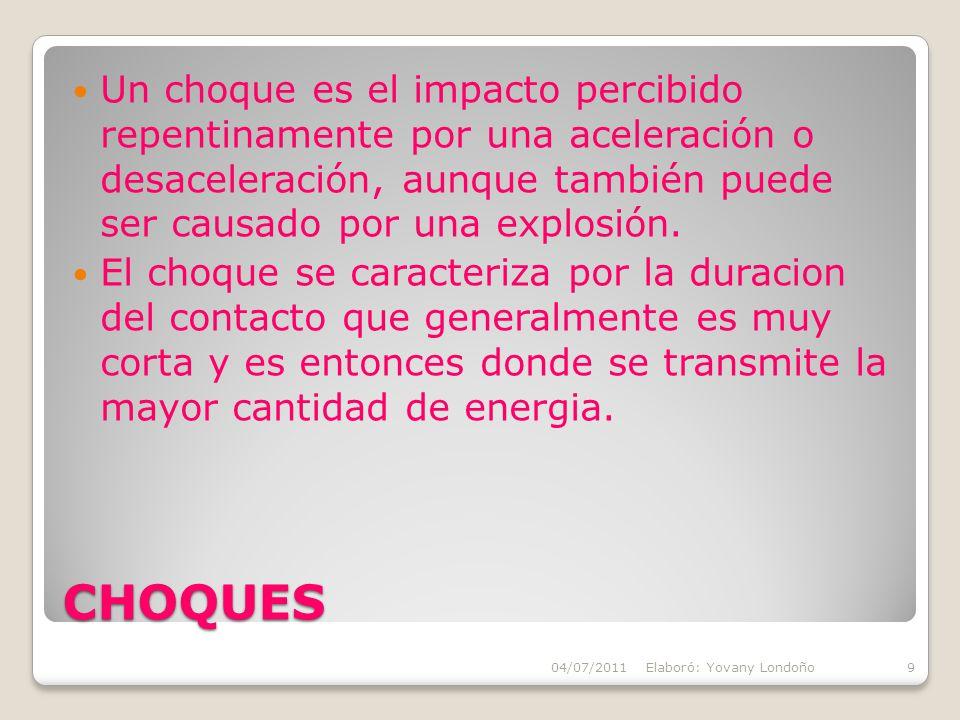 Un choque es el impacto percibido repentinamente por una aceleración o desaceleración, aunque también puede ser causado por una explosión.