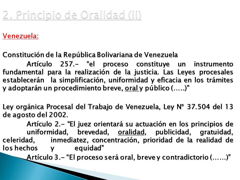 2. Principio de Oralidad (ii)