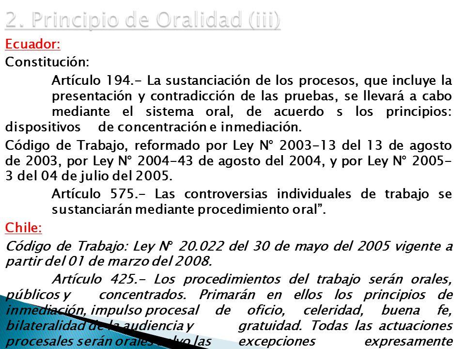 2. Principio de Oralidad (iii)