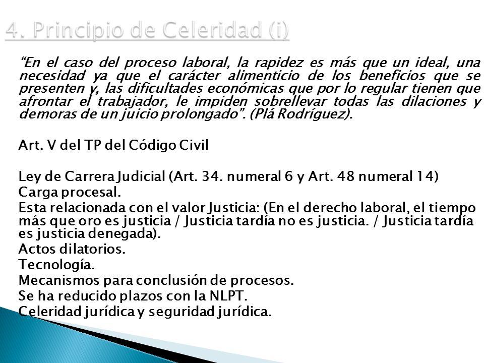 4. Principio de Celeridad (i)