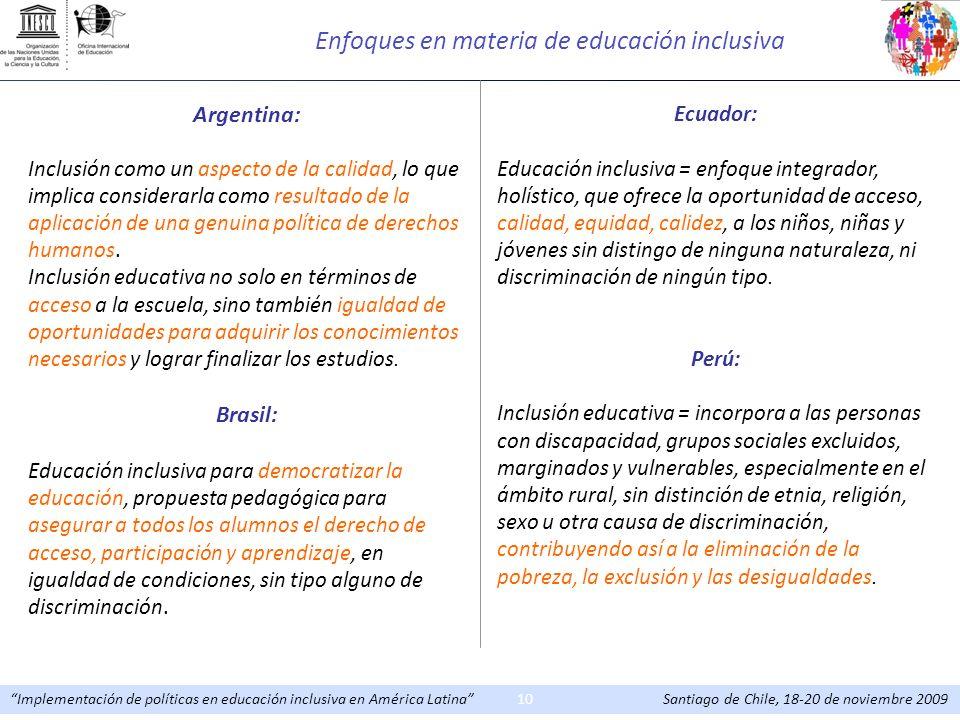 Enfoques en materia de educación inclusiva