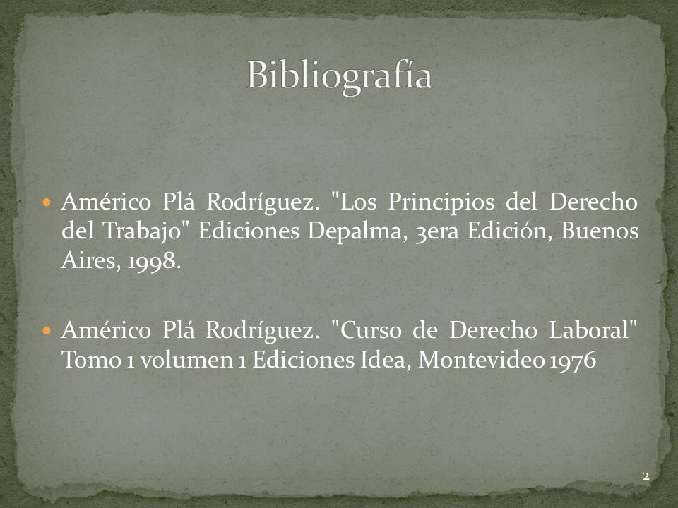 Bibliografía Américo Plá Rodríguez. Los Principios del Derecho del Trabajo Ediciones Depalma, 3era Edición, Buenos Aires, 1998.