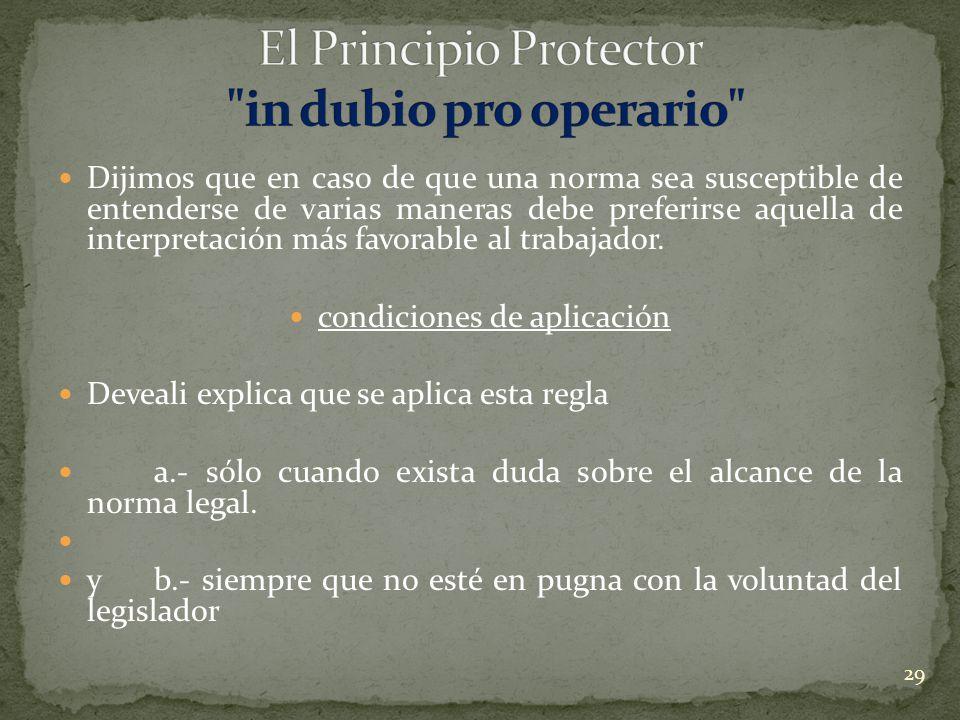 El Principio Protector in dubio pro operario
