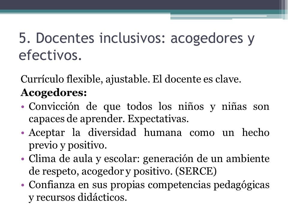 5. Docentes inclusivos: acogedores y efectivos.