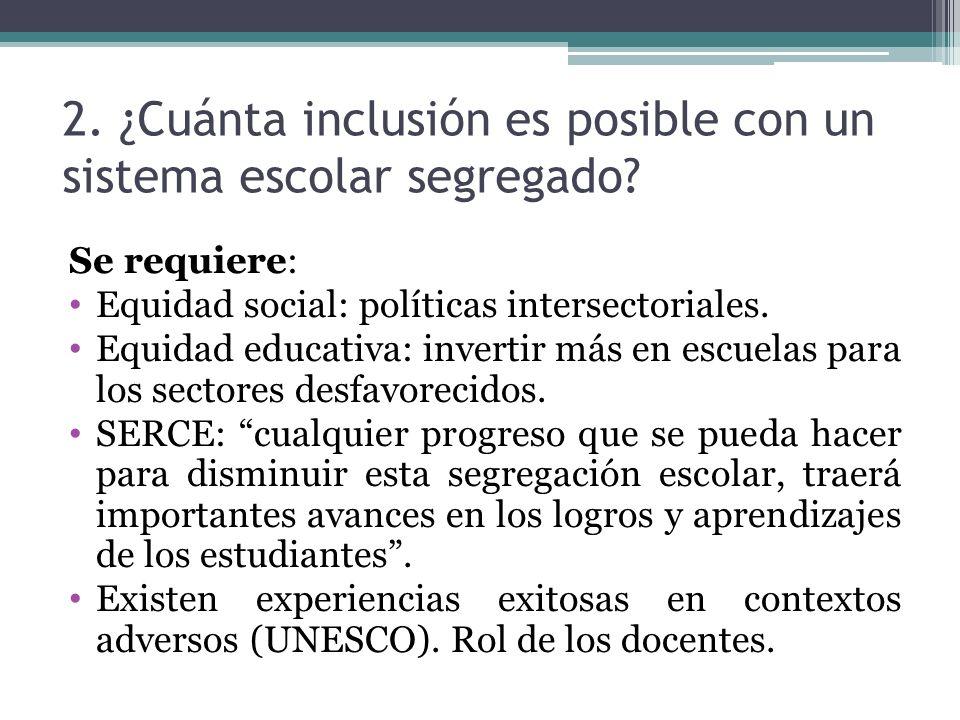 2. ¿Cuánta inclusión es posible con un sistema escolar segregado