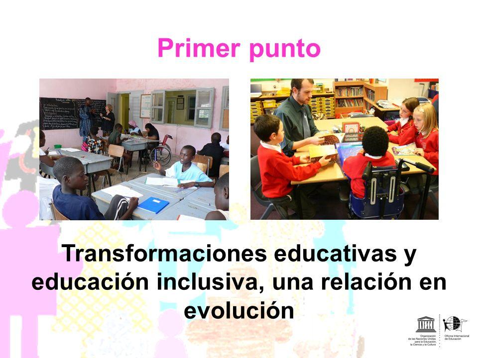Primer punto Transformaciones educativas y educación inclusiva, una relación en evolución