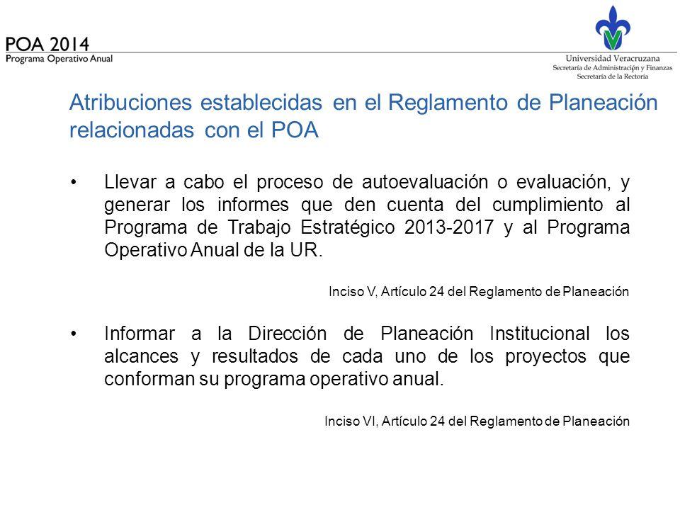 Atribuciones establecidas en el Reglamento de Planeación relacionadas con el POA