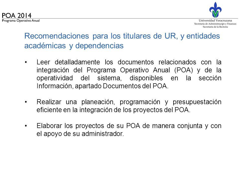 Recomendaciones para los titulares de UR, y entidades académicas y dependencias