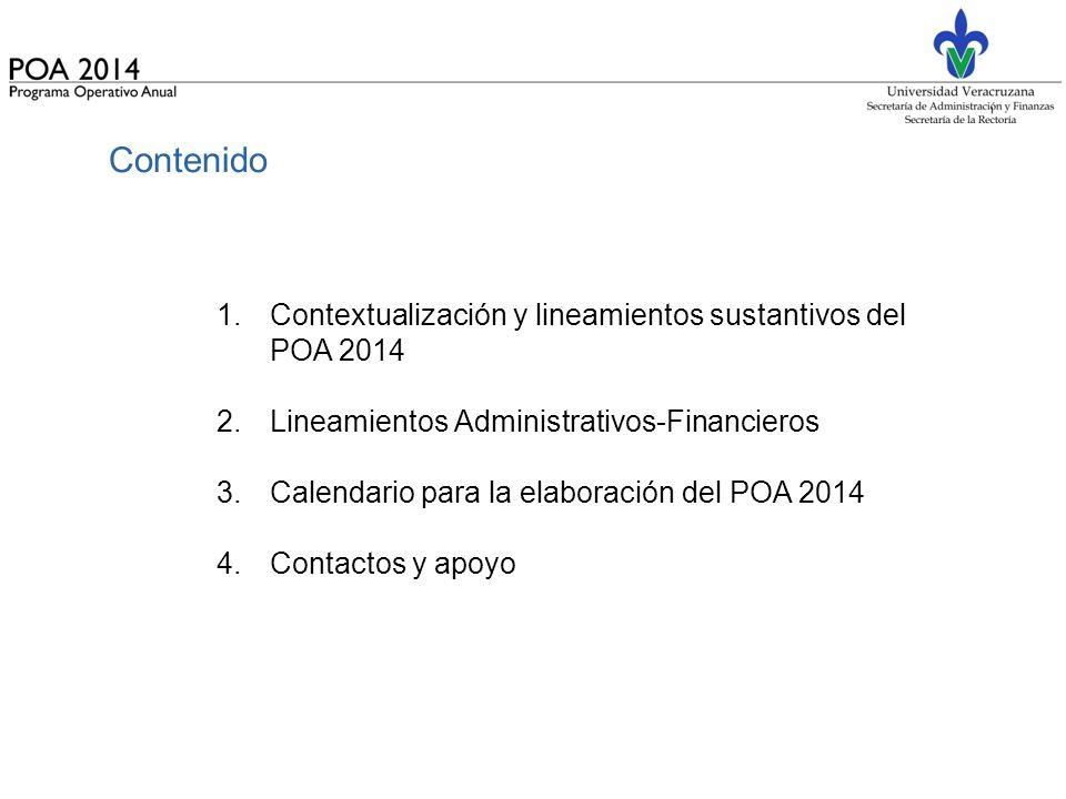Contenido Contextualización y lineamientos sustantivos del POA 2014