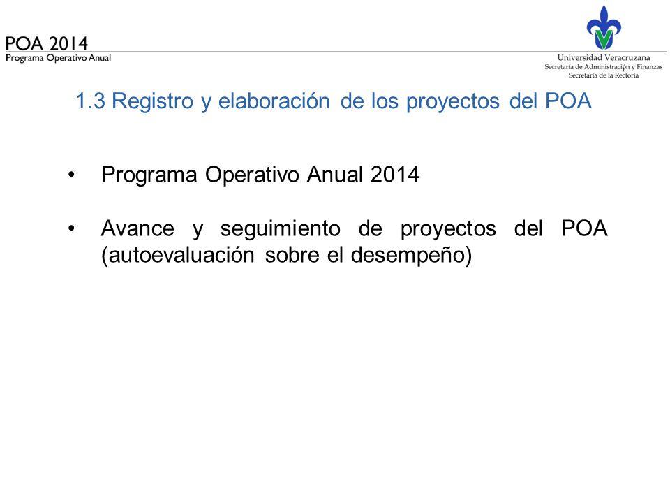 1.3 Registro y elaboración de los proyectos del POA
