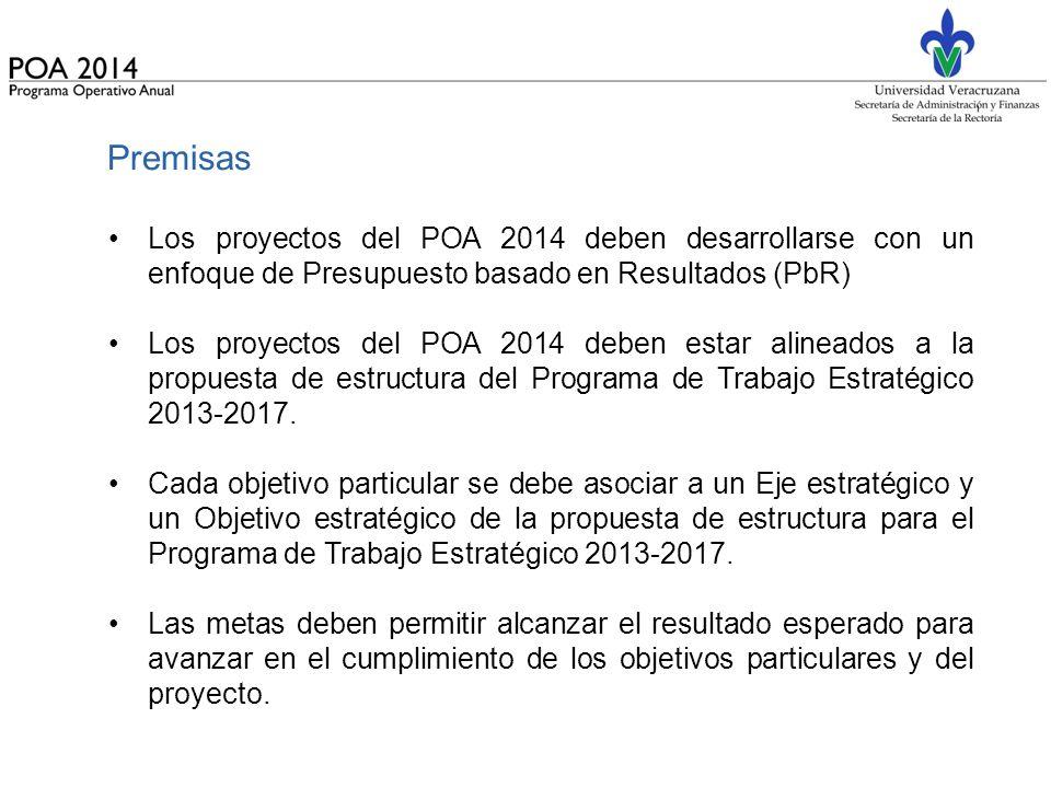 Premisas Los proyectos del POA 2014 deben desarrollarse con un enfoque de Presupuesto basado en Resultados (PbR)