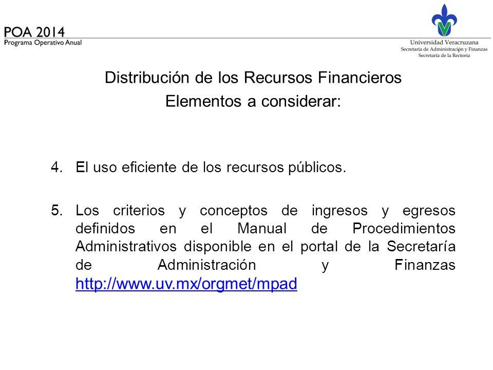 Distribución de los Recursos Financieros Elementos a considerar: