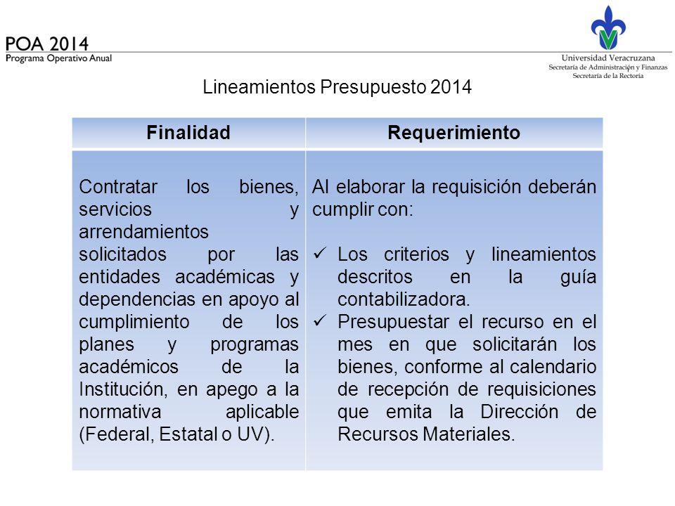 Lineamientos Presupuesto 2014