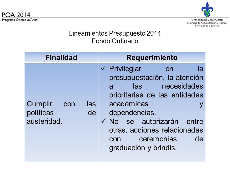 Lineamientos Presupuesto 2014 Fondo Ordinario