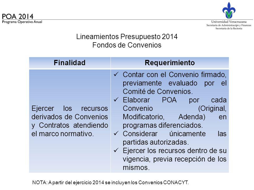 Lineamientos Presupuesto 2014 Fondos de Convenios