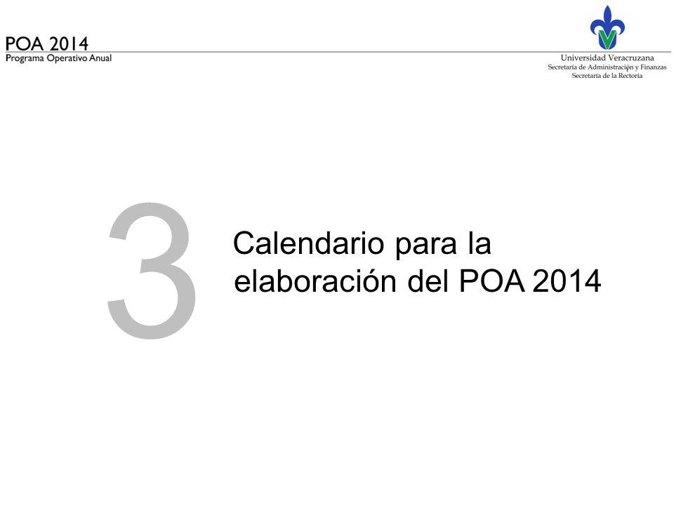 3 Calendario para la elaboración del POA 2014