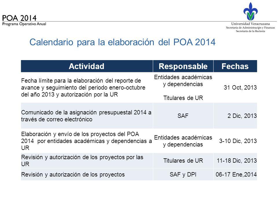 Calendario para la elaboración del POA 2014