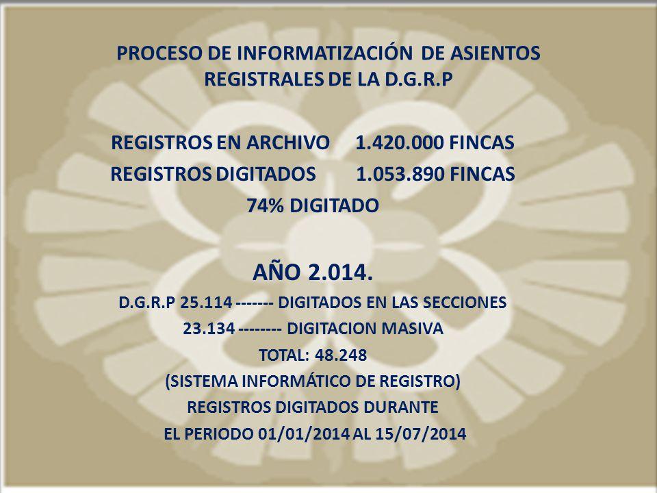 PROCESO DE INFORMATIZACIÓN DE ASIENTOS REGISTRALES DE LA D.G.R.P