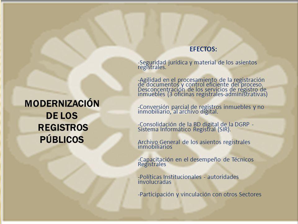MODERNIZACIÓN DE LOS REGISTROS PÚBLICOS