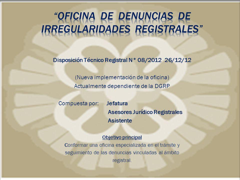 OFICINA DE DENUNCIAS DE IRREGULARIDADES REGISTRALES