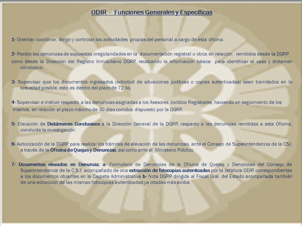 ODIR - Funciones Generales y Específicas