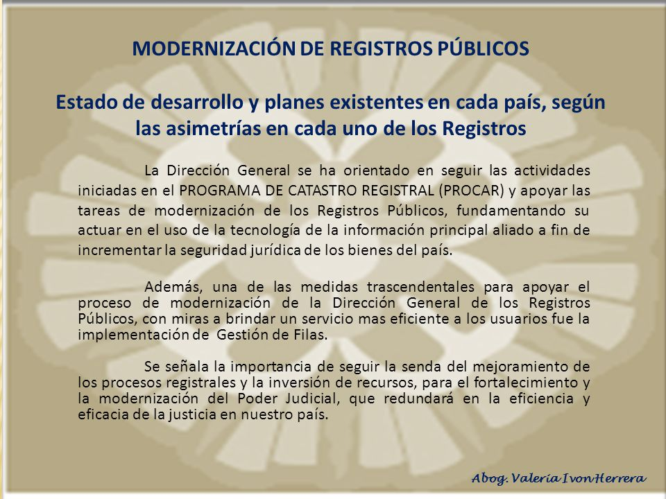 MODERNIZACIÓN DE REGISTROS PÚBLICOS