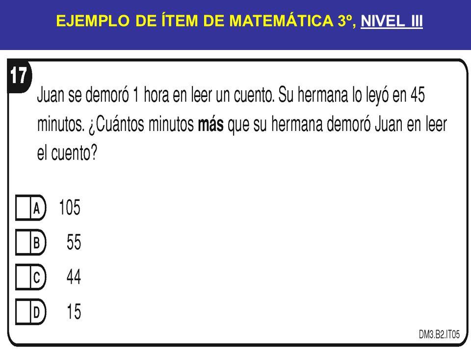 EJEMPLO DE ÍTEM DE MATEMÁTICA 3º, NIVEL III