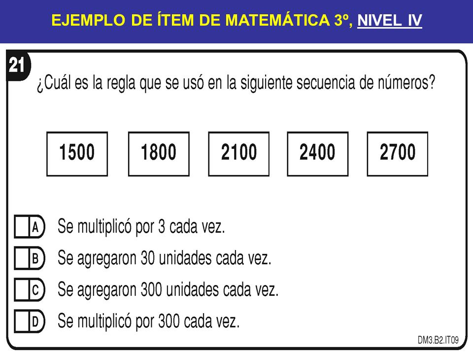 EJEMPLO DE ÍTEM DE MATEMÁTICA 3º, NIVEL IV