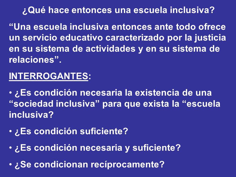 ¿Qué hace entonces una escuela inclusiva