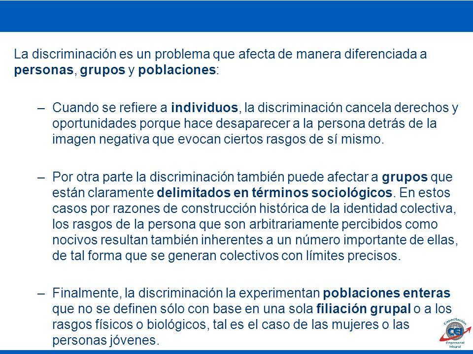 La discriminación es un problema que afecta de manera diferenciada a personas, grupos y poblaciones: