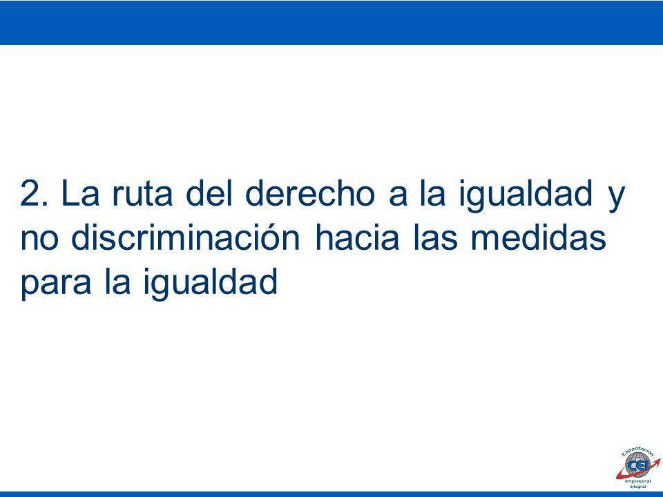 2. La ruta del derecho a la igualdad y no discriminación hacia las medidas para la igualdad