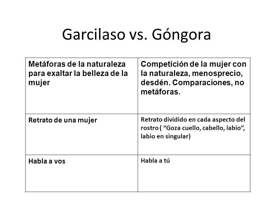 Garcilaso vs. Góngora Metáforas de la naturaleza para exaltar la belleza de la mujer.