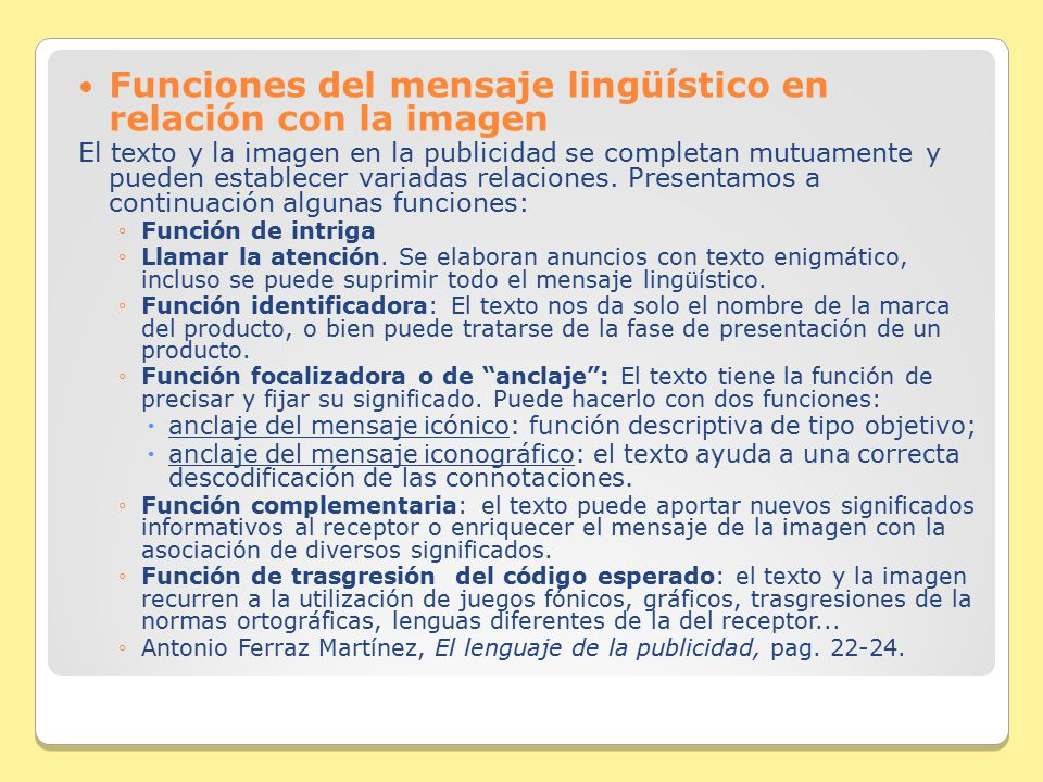 Funciones del mensaje lingüístico en relación con la imagen