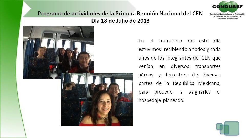 Programa de actividades de la Primera Reunión Nacional del CEN
