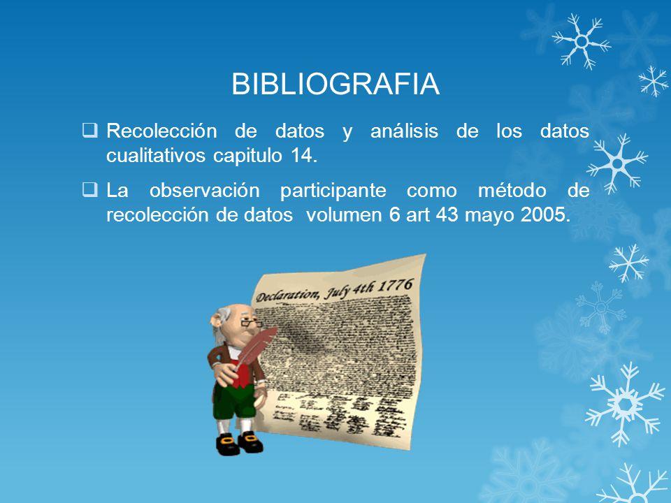 BIBLIOGRAFIA Recolección de datos y análisis de los datos cualitativos capitulo 14.