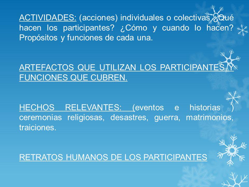 ACTIVIDADES: (acciones) individuales o colectivas ¿Qué hacen los participantes ¿Cómo y cuando lo hacen Propósitos y funciones de cada una.