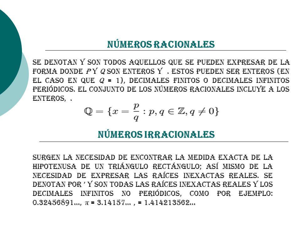 Números Racionales Números Irracionales