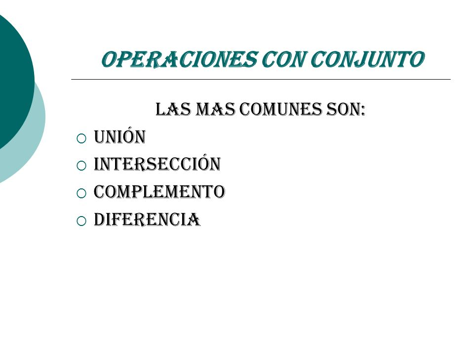 Operaciones con Conjunto
