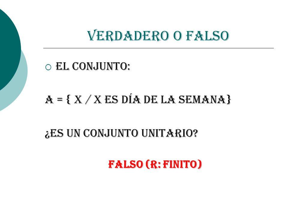 Verdadero o Falso El conjunto: A = { x / x es día de la semana}